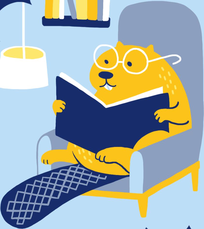 Beaver reading a book
